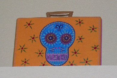 Day of the Dead (Dia de los Muertos) sugar skull briefcase by Andrea Drugay