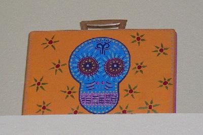 Day of the Dead (Dia de los Muertos) sugar skull briefcase by Andrea Drugay