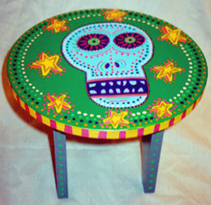 Day of the Dead (Dia de los Muertos) sugar skull stool by Andrea Drugay