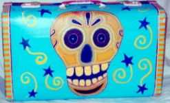 Day of the Dead (Dia de los Muertos) sugar skull suitcase by Andrea Drugay