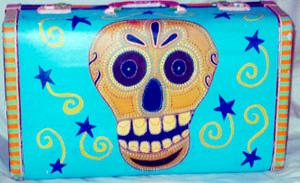 Day of the Dead (Dia de los Muertos) sugar skull suitcase by Andrea Drugay