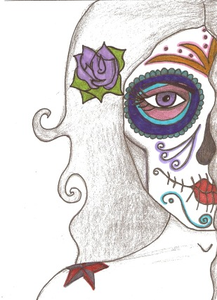 Day of the Dead (Dia de los Muertos) sugar skull senorita by Andrea Drugay